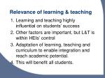relevance of learning teaching