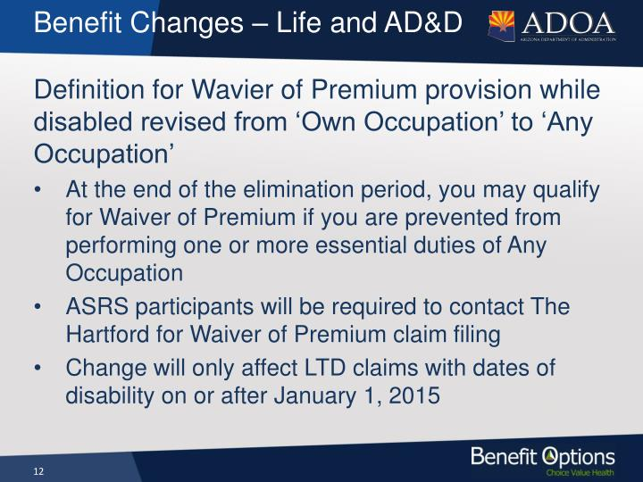 Benefit Changes –