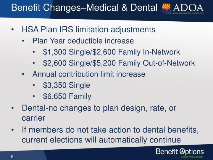 Benefit Changes–Medical & Dental