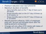 benefit changes std