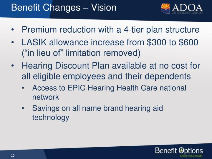 Benefit Changes – Vision