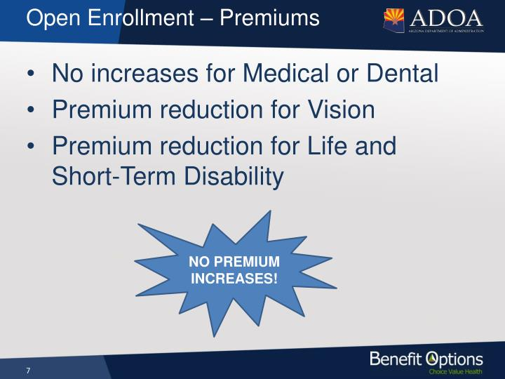 Open Enrollment – Premiums