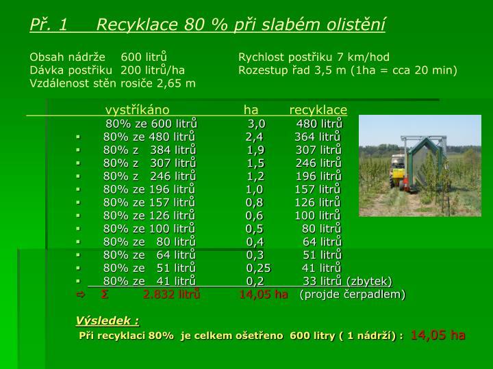 Př. 1    Recyklace 80 % při slabém olistění