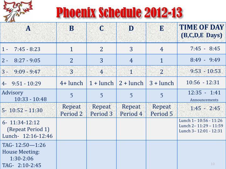 Phoenix Schedule 2012-13