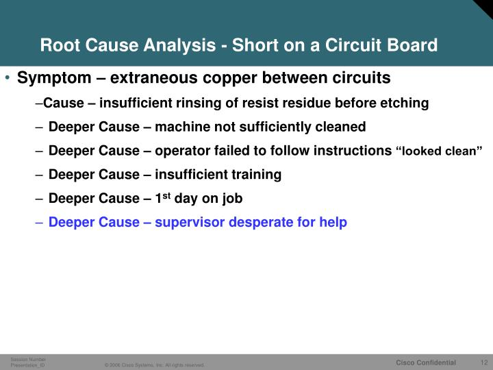 Root Cause Analysis - Short on a Circuit Board
