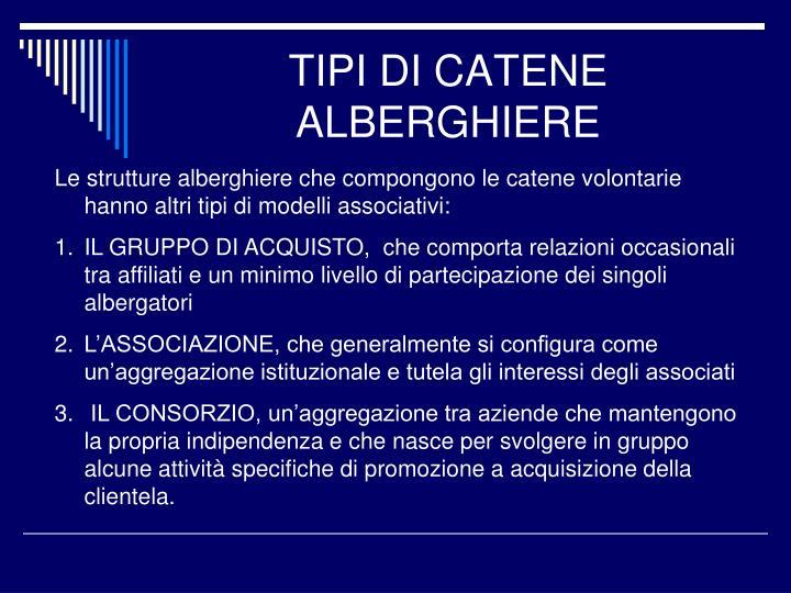 TIPI DI CATENE ALBERGHIERE