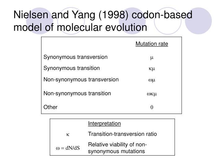 Nielsen and Yang (1998) codon-based model of molecular evolution