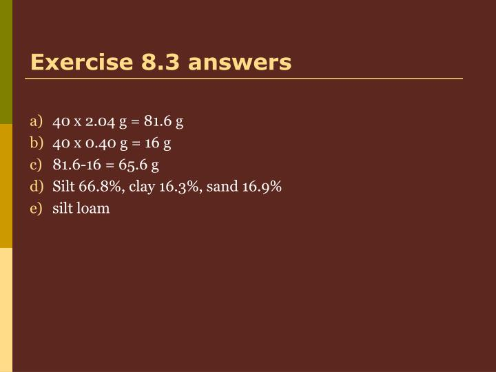 Exercise 8.3 answers
