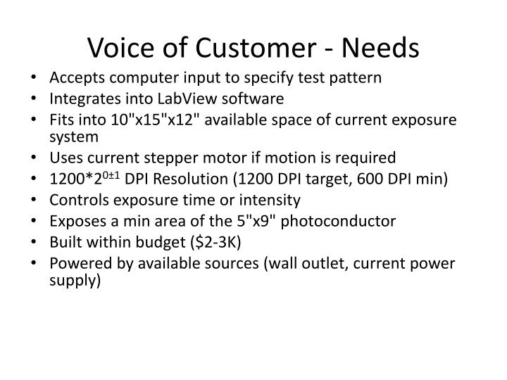Voice of Customer - Needs