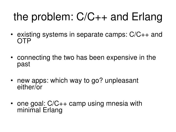 the problem: C/C++ and Erlang