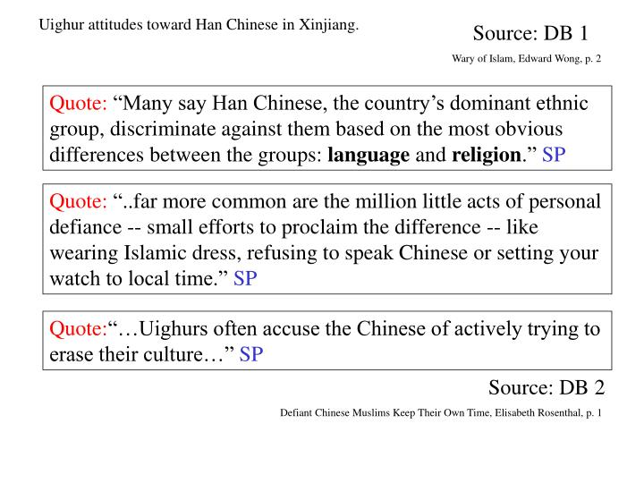 Uighur attitudes toward Han Chinese in