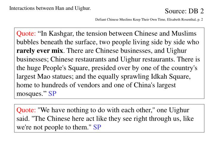 Interactions between Han and Uighur
