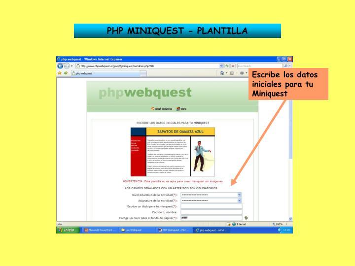 PHP MINIQUEST - PLANTILLA