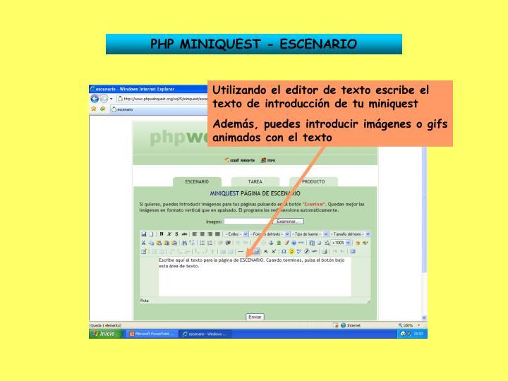 PHP MINIQUEST - ESCENARIO