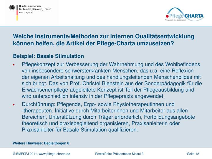 Welche Instrumente/Methoden zur internen Qualitätsentwicklung können helfen, die Artikel der Pflege-Charta umzusetzen?