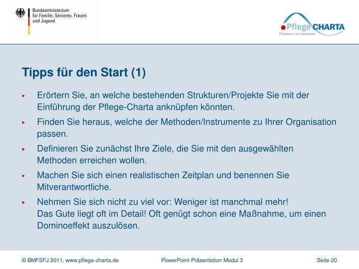 Tipps für den Start (1)