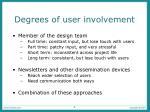 degrees of user involvement