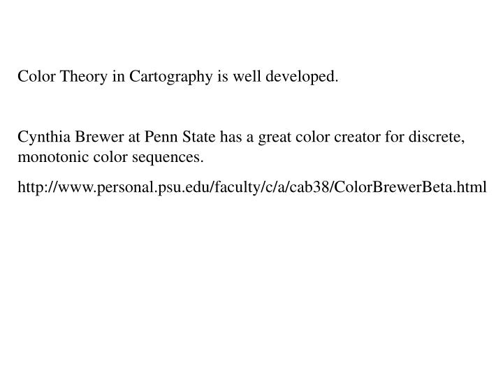 Color Theory in Cartography is well developed.