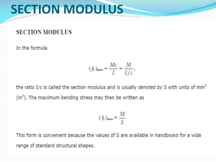 SECTION MODULUS