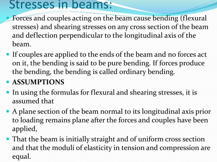 Stresses in beams: