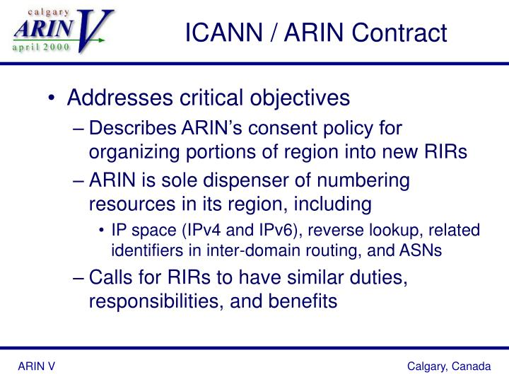 ICANN / ARIN Contract