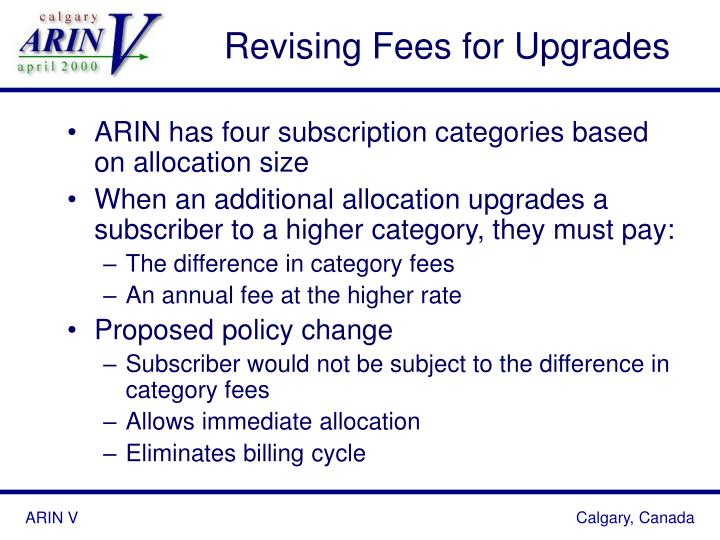 Revising Fees for Upgrades