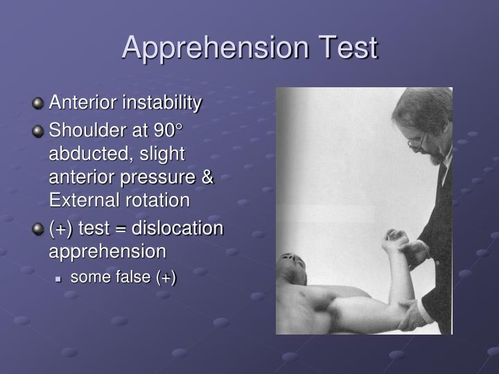 Apprehension Test