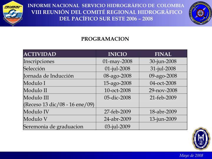 INFORME NACIONAL  SERVICIO HIDROGRÁFICO DE  COLOMBIA