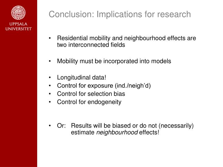 Conclusion: Implications for research