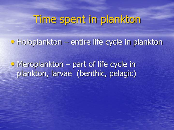 Time spent in plankton