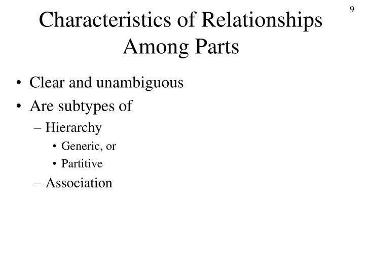 Characteristics of Relationships Among Parts