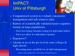 impact univ of pittsburgh