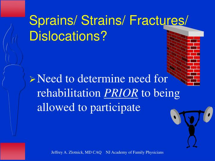 Sprains/ Strains/ Fractures/ Dislocations?