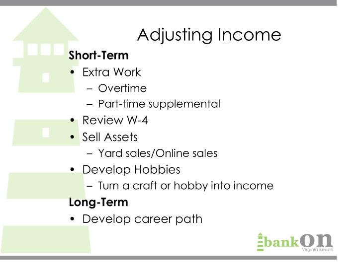 Adjusting Income
