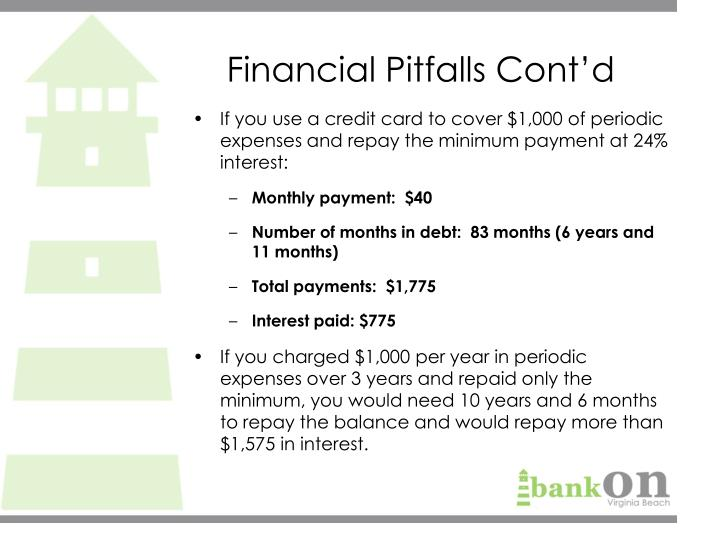 Financial Pitfalls Cont'd