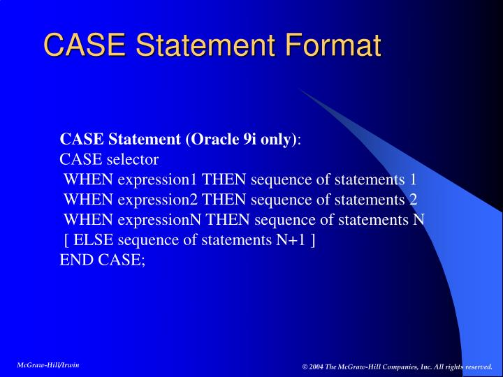 CASE Statement Format