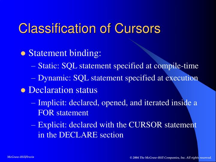 Classification of Cursors