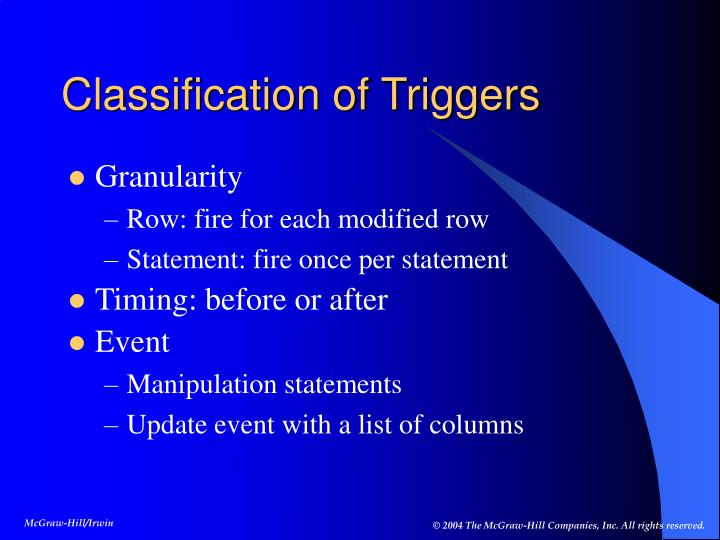 Classification of Triggers