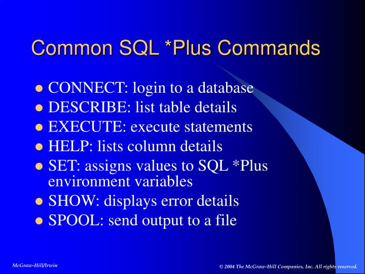 Common SQL *Plus Commands