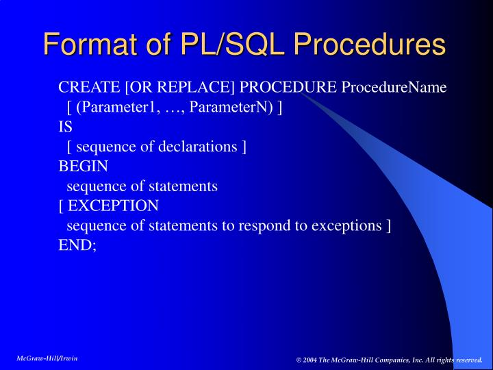 Format of PL/SQL Procedures