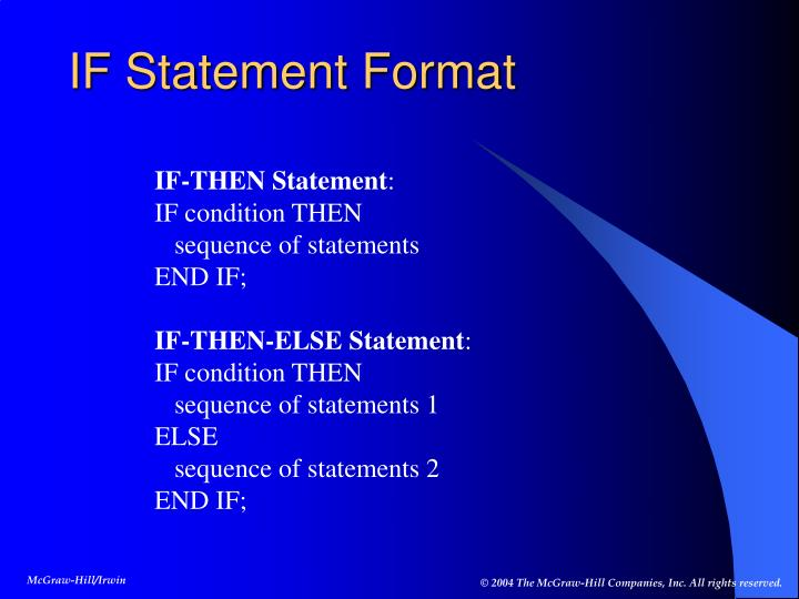 IF Statement Format