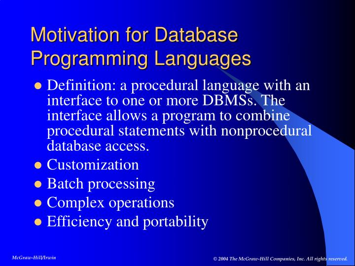Motivation for Database Programming Languages
