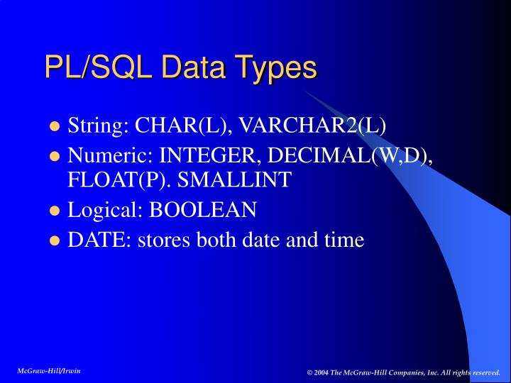 PL/SQL Data Types