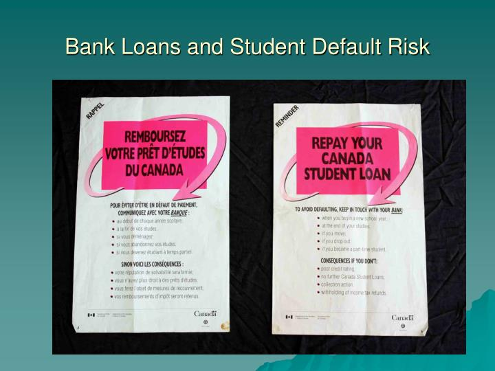 Bank Loans and Student Default Risk