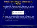 indexaci n del c up n y cl usula de ajuste