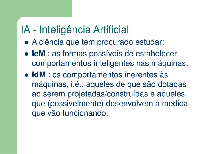 IA - Inteligência Artificial