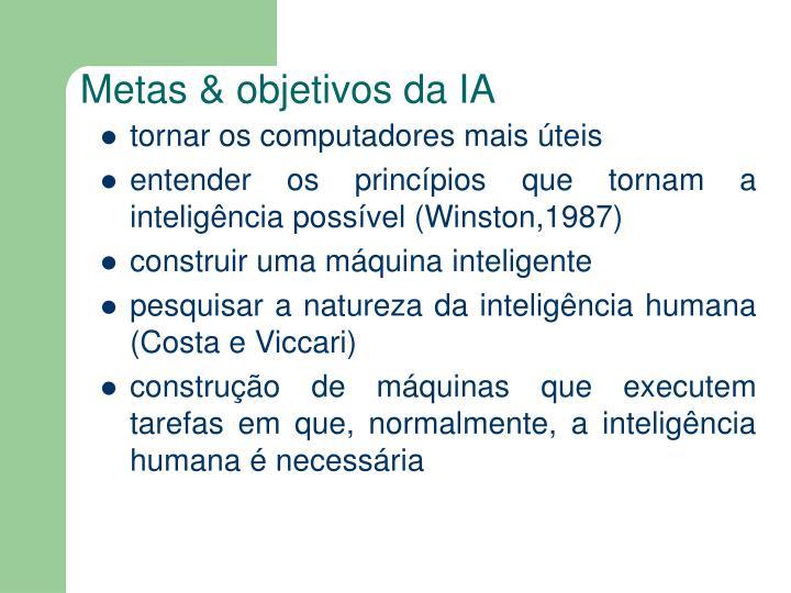 Metas & objetivos da IA