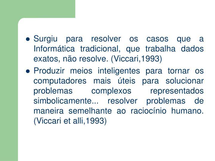 Surgiu para resolver os casos que a Informática tradicional, que trabalha dados exatos, não resolve. (Viccari,1993)