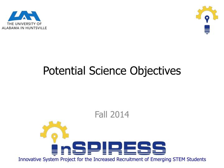 Potential science objectives