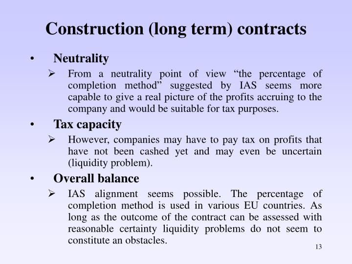 Construction (long term) contracts